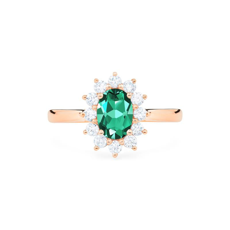 [Julianne] Vintage Bloom Oval Cut Ring in Lab Emerald - Women's Ring - Michellia Fine Jewelry