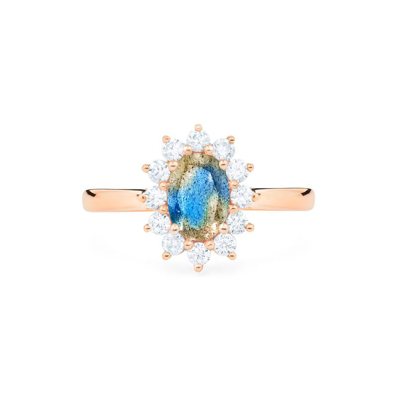 [Julianne] Vinage Bloom Oval Cut Ring in Labradorite - Michellia Fine Jewelry
