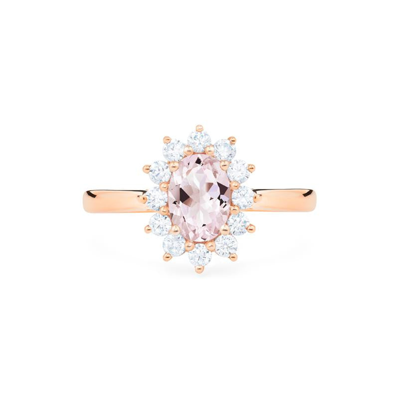 [Julianne] Vinage Bloom Oval Cut Ring in Morganite - Michellia Fine Jewelry
