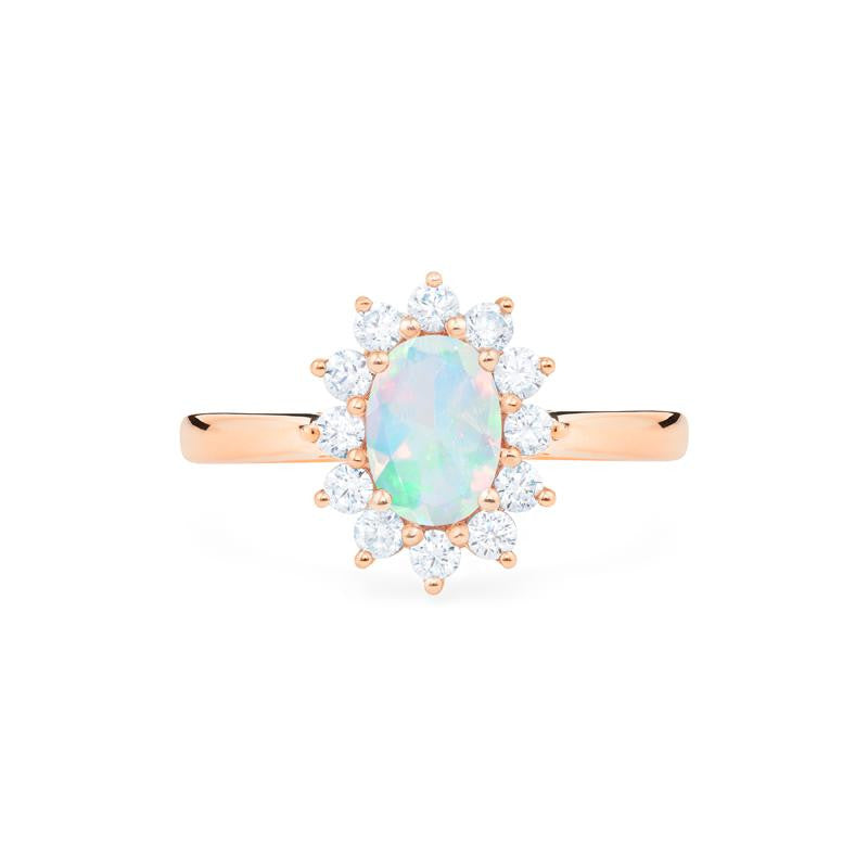 [Julianne] Ready-to-Ship Vintage Bloom Oval Cut Ring in Opal - Women's Ring - Michellia Fine Jewelry