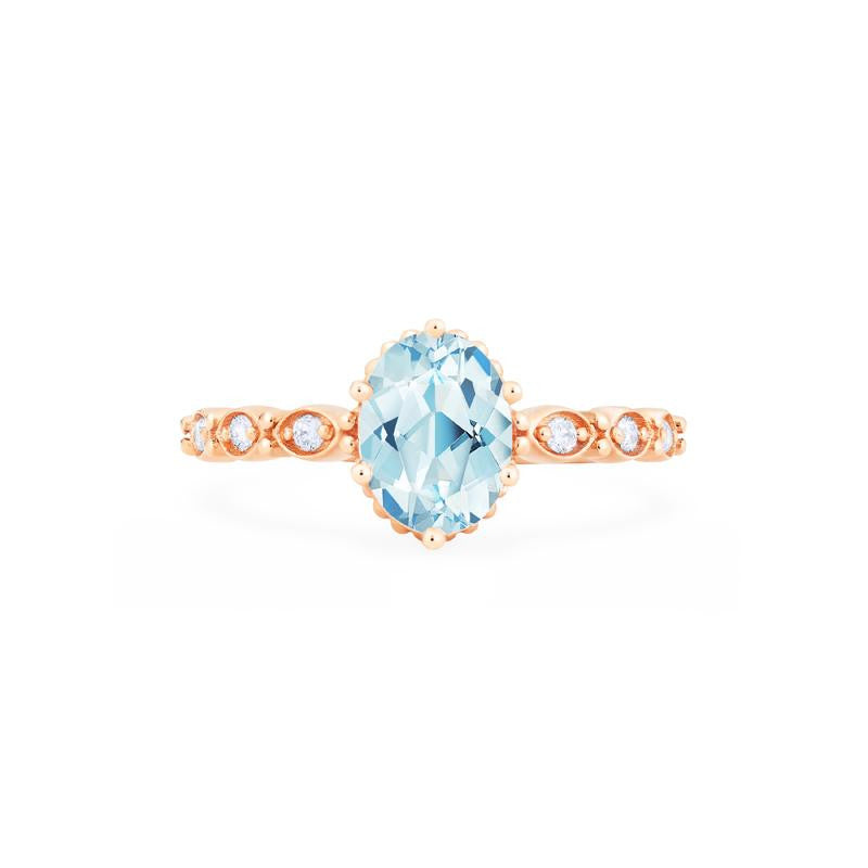 [Evelina] Vintage Classic Crown Oval Cut Ring in Aquamarine - Women's Ring - Michellia Fine Jewelry