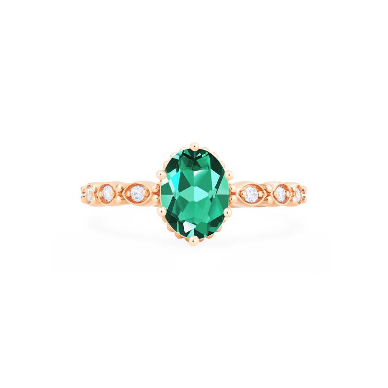 [Evelina] Vintage Classic Crown Oval Cut Ring in Lab Emerald - Women's Ring - Michellia Fine Jewelry