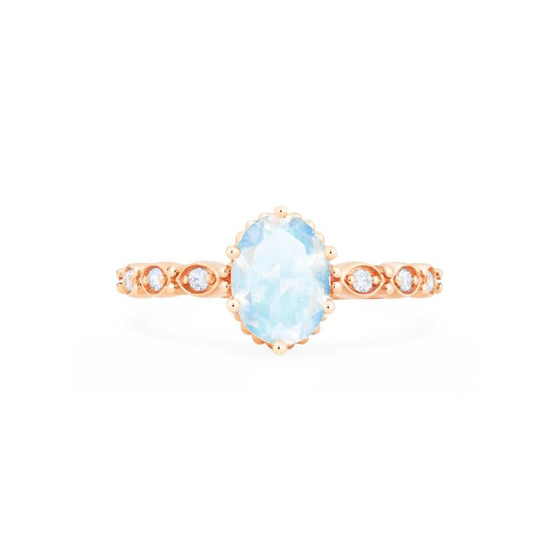 [Evelina] Vintage Classic Crown Oval Cut Ring in Moonstone - Michellia Fine Jewelry
