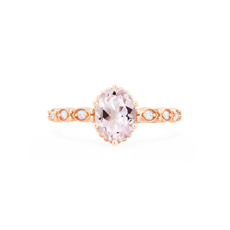 [Evelina] Vintage Classic Crown Oval Cut Ring in Morganite - Women's Ring - Michellia Fine Jewelry