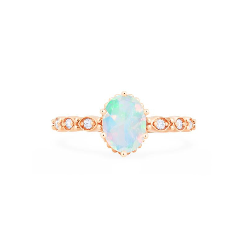 [Evelina] Vintage Classic Crown Oval Cut Ring in Opal - Michellia Fine Jewelry