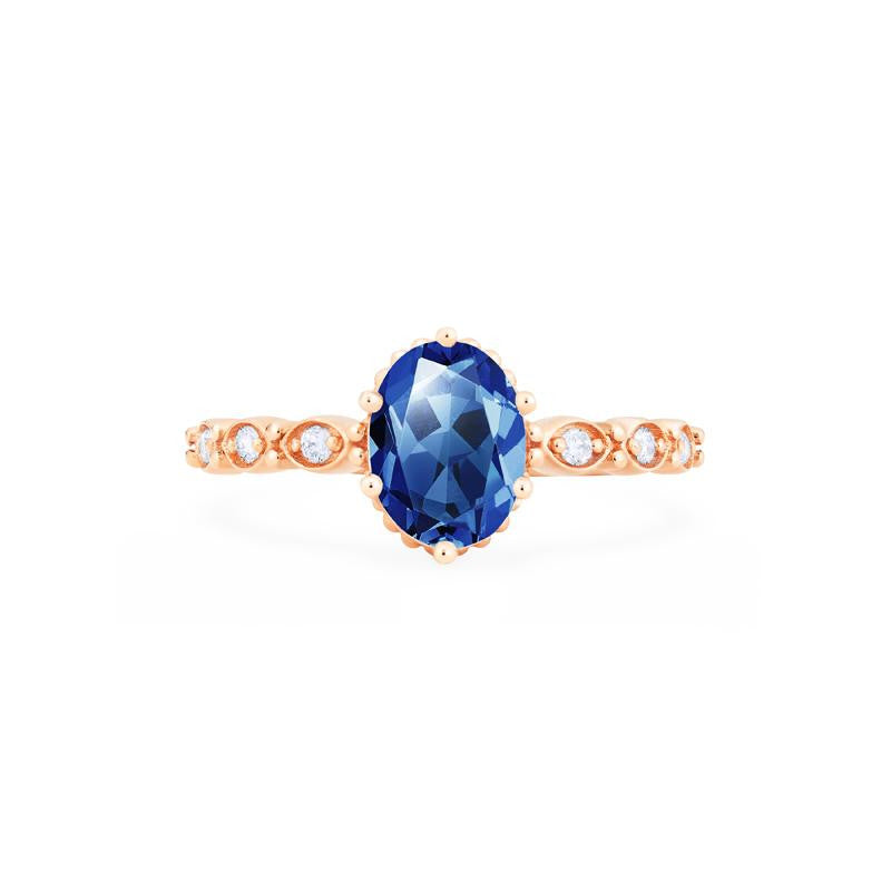 [Evelina] Vintage Classic Crown Oval Cut Ring in Lab Blue Sapphire - Women's Ring - Michellia Fine Jewelry