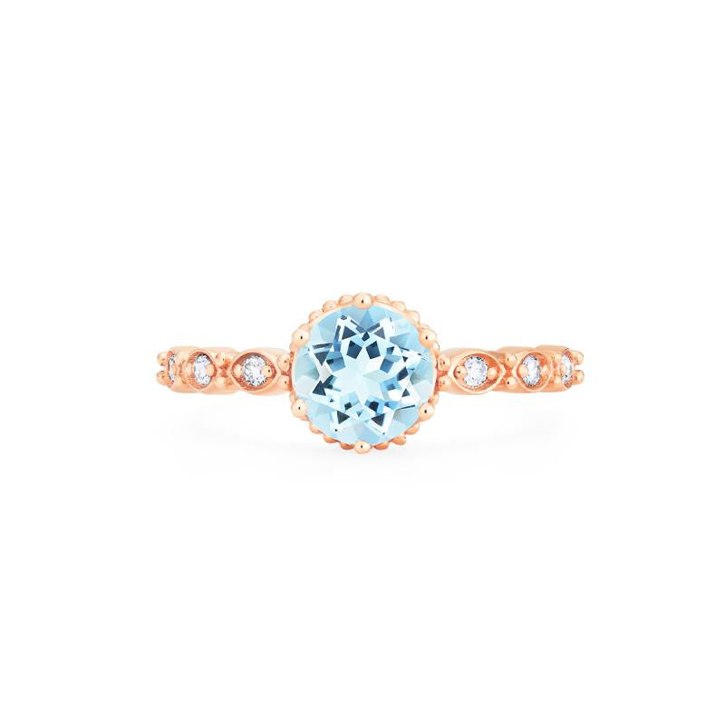 [Evelyn] Vintage Classic Crown Ring in Aquamarine - Women's Ring - Michellia Fine Jewelry