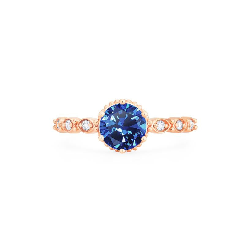 [Evelyn] Vintage Classic Crown Ring in Lab Blue Sapphire - Michellia Fine Jewelry