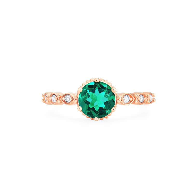 [Evelyn] Vintage Classic Crown Ring in Lab Emerald - Michellia Fine Jewelry