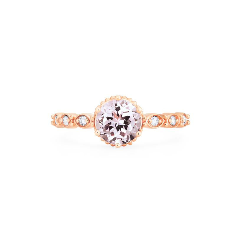 [Evelyn] Ready-to-Ship Vintage Classic Crown Ring in Morganite - Women's Ring - Michellia Fine Jewelry