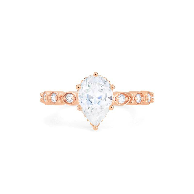 [Emelia] Vintage Classic Crown Pear Cut Ring in Moissanite - Michellia Fine Jewelry