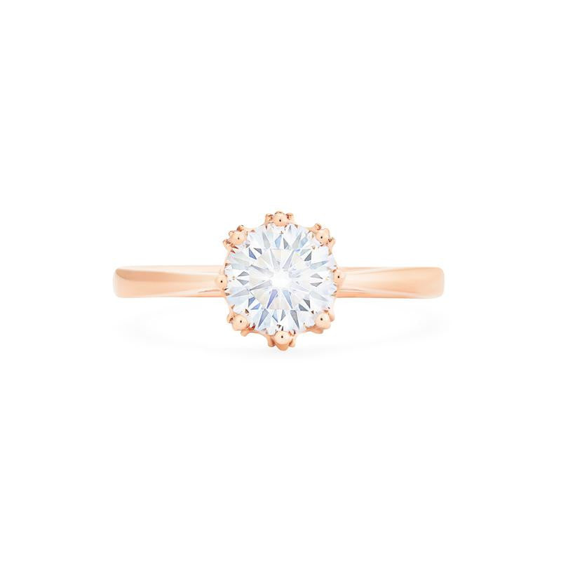 [Cassandra] Vintage Crown Solitaire Ring in Moissanite - Women's Ring - Michellia Fine Jewelry