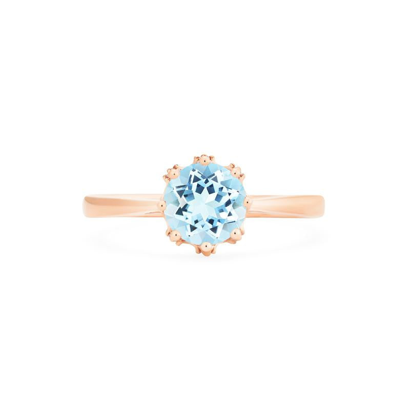 [Cassandra] Vintage Crown Solitaire Ring in Aquamarine - Women's Ring - Michellia Fine Jewelry
