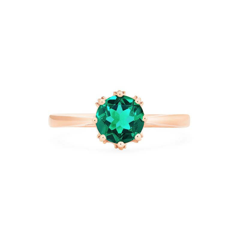 [Cassandra] Vintage Crown Solitaire Ring in Lab Emerald - Women's Ring - Michellia Fine Jewelry