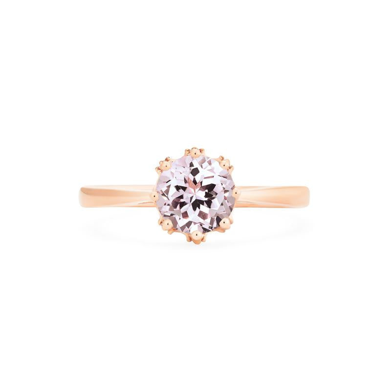 [Cassandra] Vintage Crown Solitaire Ring in Morganite - Michellia Fine Jewelry