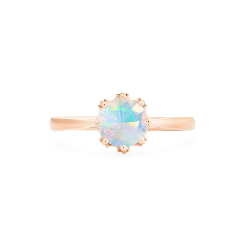 [Cassandra] Vintage Crown Solitaire Ring in Opal - Michellia Fine Jewelry