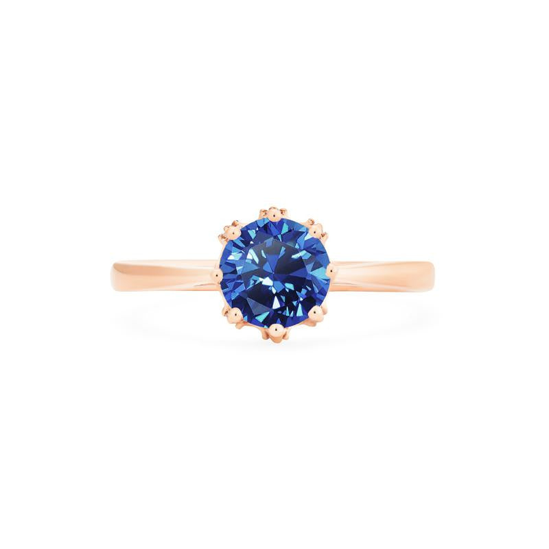 [Cassandra] Vintage Crown Solitaire Ring in Lab Blue Sapphire - Women's Ring - Michellia Fine Jewelry