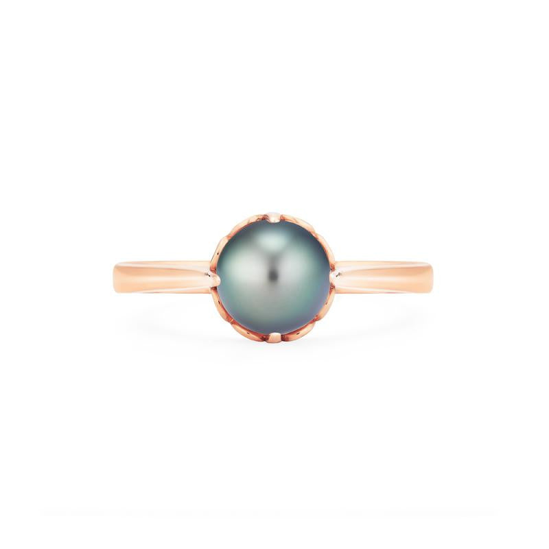 [Marguerite] Victorian Solitaire Ring in Tahitian Pearl - Women's Ring - Michellia Fine Jewelry