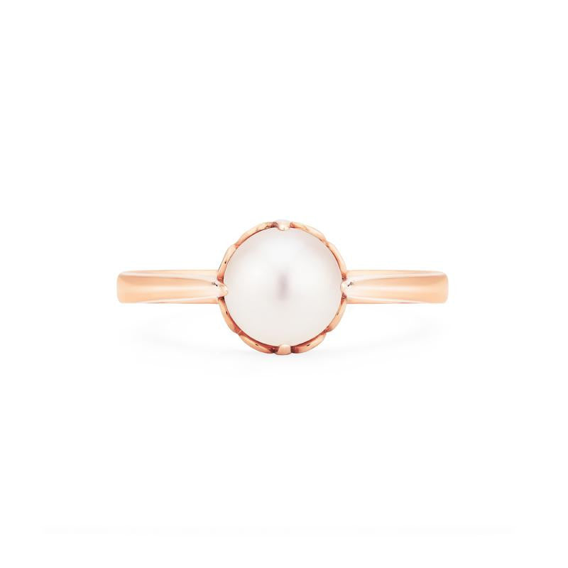 [Marguerite] Victorian Solitaire Ring in Akoya Pearl - Michellia Fine Jewelry