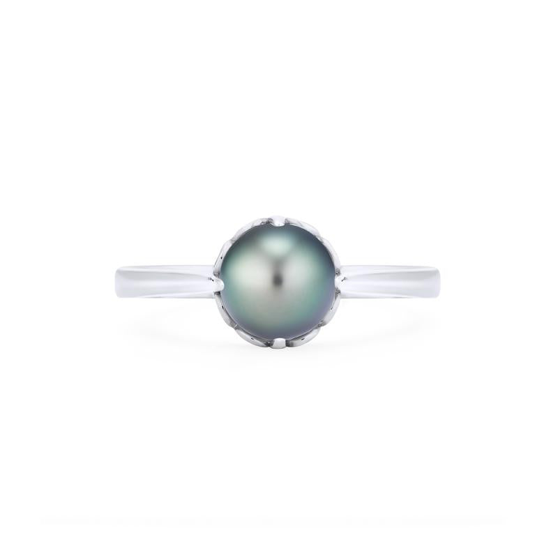 [Marguerite] Ready-to-Ship Victorian Solitaire Ring in Tahitian Pearl - Women's Ring - Michellia Fine Jewelry