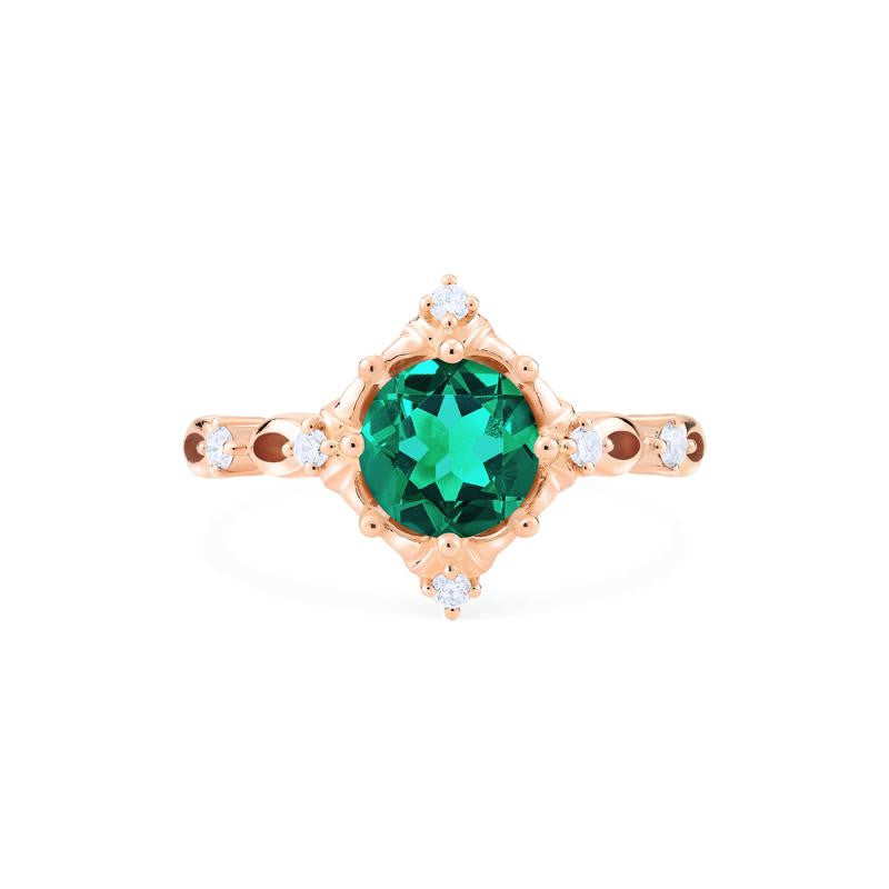 [Annalise] Victorian Heirloom Ring in Lab Emerald - Women's Ring - Michellia Fine Jewelry