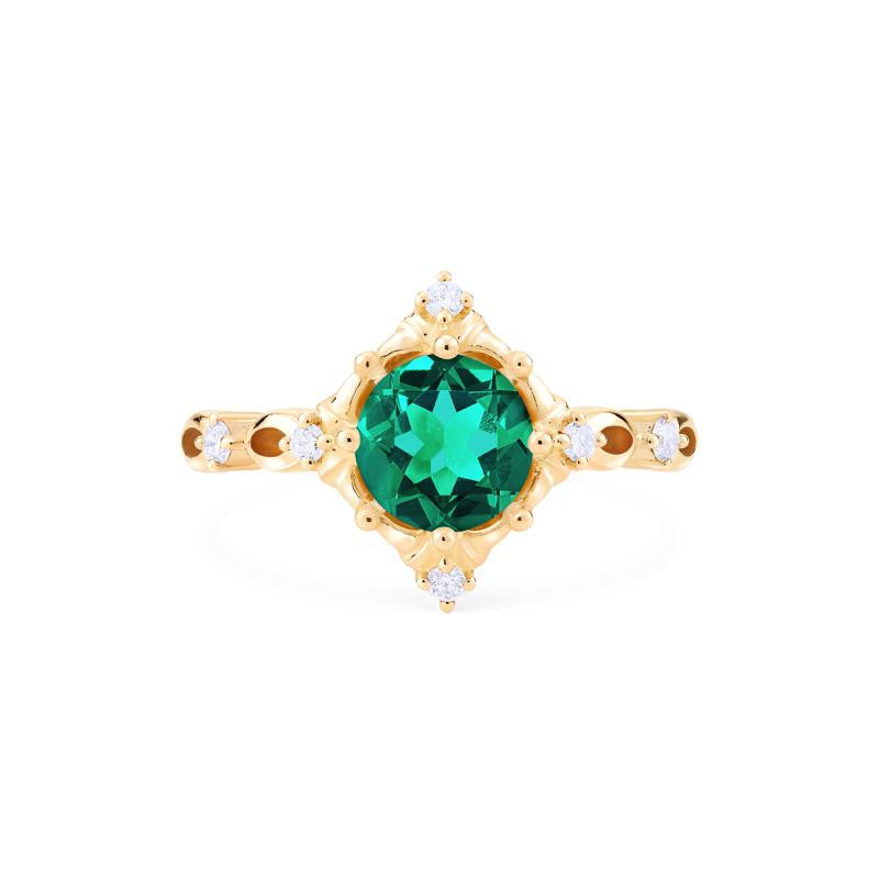 [Annalise] Ready-to-Ship Victorian Heirloom Ring in Lab Emerald - Women's Ring - Michellia Fine Jewelry