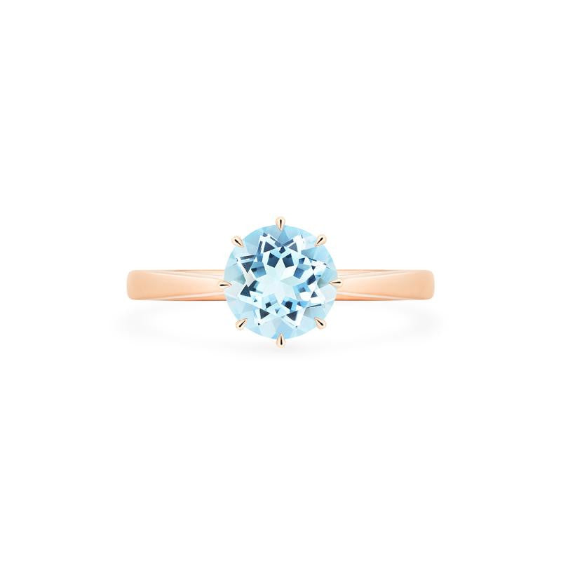 [Victoria] Ready-to-Ship Classic Crown Solitaire Ring in Aquamarine - Women's Ring - Michellia Fine Jewelry