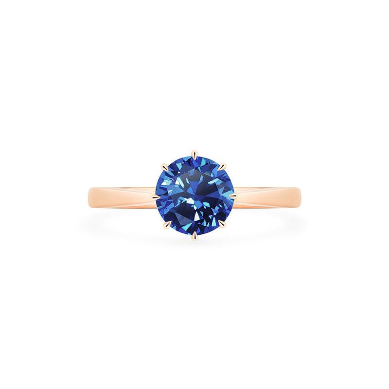 [Victoria] Classic Crown Solitaire Ring in Lab Blue Sapphire - Michellia Fine Jewelry