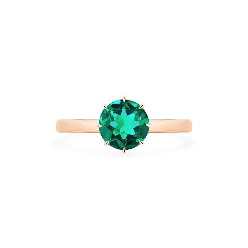 [Victoria] Ready-to-Ship Classic Crown Solitaire Ring in Lab Emerald - Women's Ring - Michellia Fine Jewelry