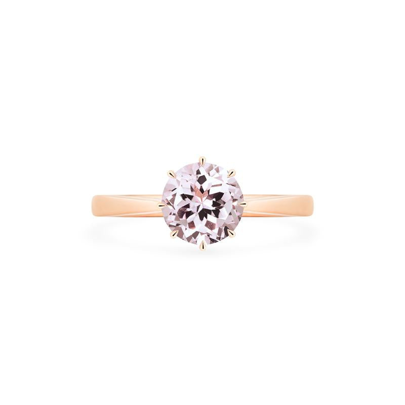 [Victoria] Classic Crown Solitaire Ring in Morganite - Michellia Fine Jewelry