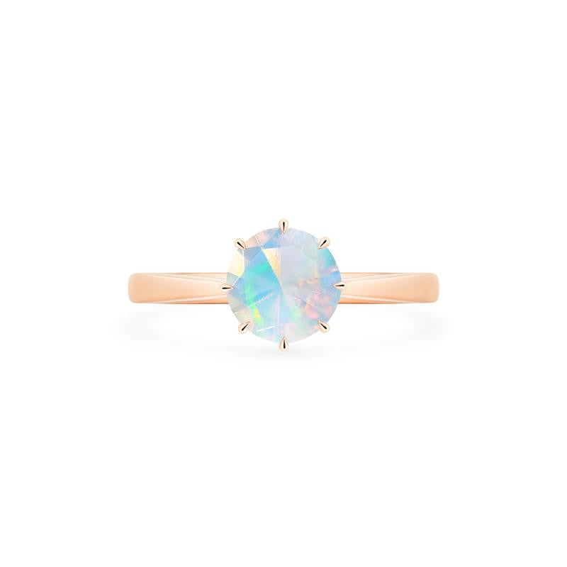 [Victoria] Classic Crown Solitaire Ring in Opal - Women's Ring - Michellia Fine Jewelry