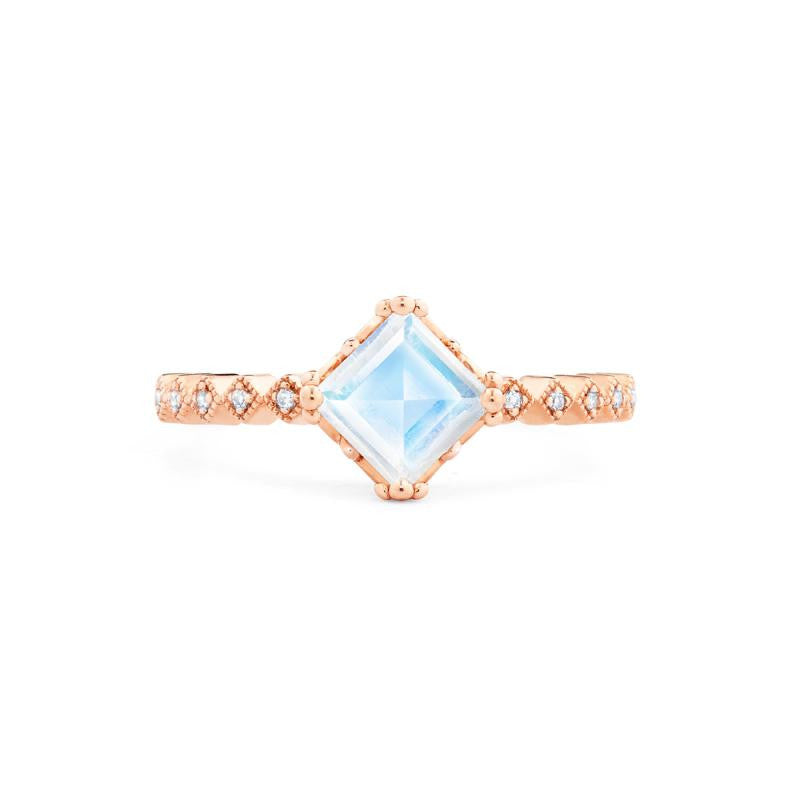 [Astoria] Fluer De Lis Square Princess Cut Ring in Moonstone - Women's Ring - Michellia Fine Jewelry