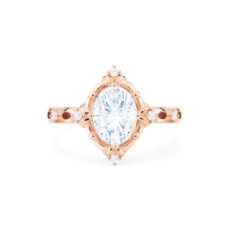 [Anastasia] Victorian Heirloom Oval Cut Ring in Moissanite - Michellia Fine Jewelry