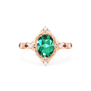 [Anastasia] Victorian Heirloom Oval Cut Ring in Lab Emerald - Women's Ring - Michellia Fine Jewelry