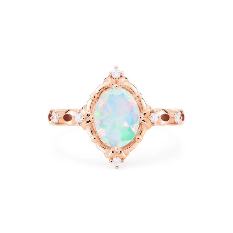 [Anastasia] Victorian Heirloom Oval Cut Ring in Opal - Women's Ring - Michellia Fine Jewelry