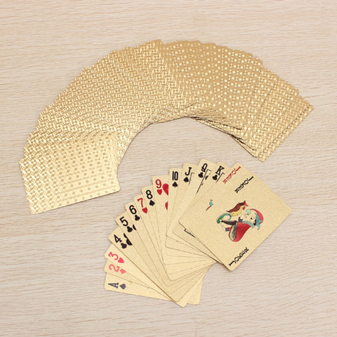 24K Carat Gold Foil Plated Poker Game Playing Cards Grid Golden