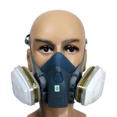 7502 Silicone Half Face Respirator Painting Spraying Face Gas Mask Navy