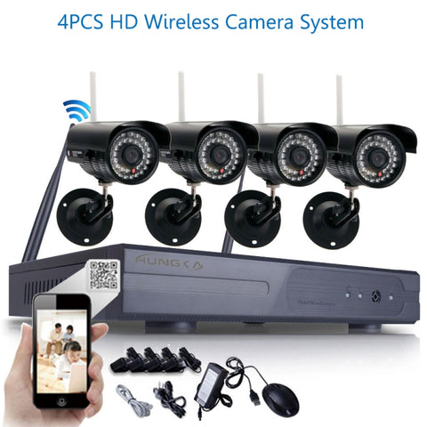 Wireless 8CH 4 Pcs 720P WIFI IR-CUT IP Camera Waterproof CCTV Security System