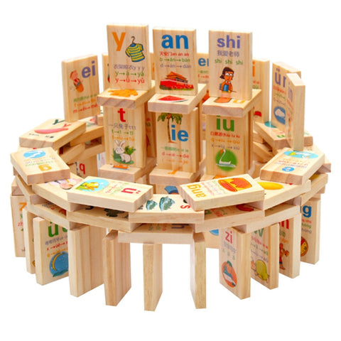 90pcs Rectangle Wooden Alphabet Leaner Dominoes