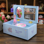 Creative Rectangular Rotating Girl Mechanical Musical Box Jewelry Box with Transparent Cover Blue
