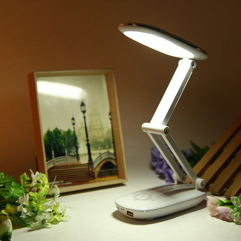 Folding Rechargeable USB LED Touch Sensor Power Bank Table Lamp for Reading White