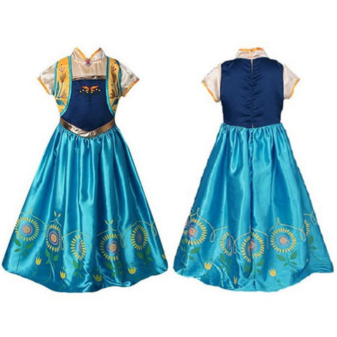 Girls' Princess Elsa Costume Sunflower Decor Party Lace Dress 130cm