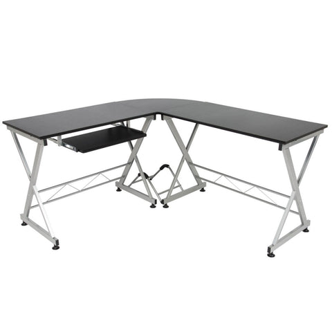 L-Shaped Durable Wooden Splicing Computer Desk Black - Contemporary Style