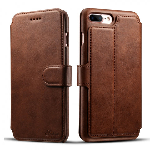 Leather Retro Wallet Cover Back Case w/ Card Cases for iPhone 8/7 Plus Brown