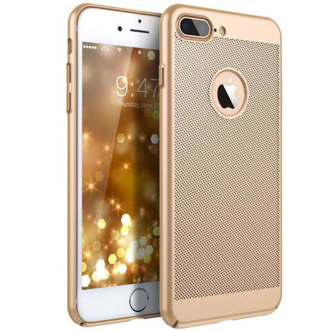 Heat Dissipation Phone Case Breath Mesh Hole Cover For iPhone 7/8 Plus Golden