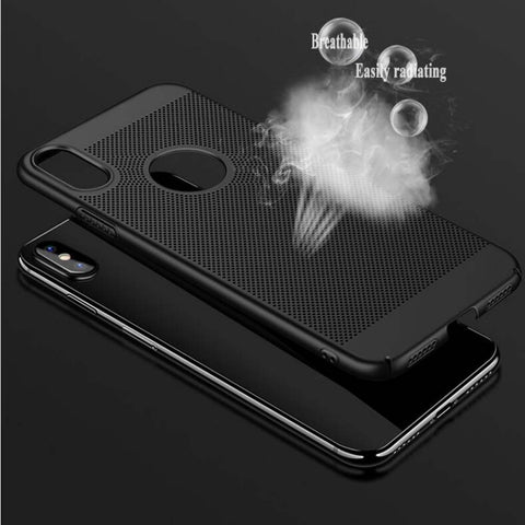 Slim Mesh PC Heat Dissipation Hard Case Cover Anti-Skid For iPhone X Black