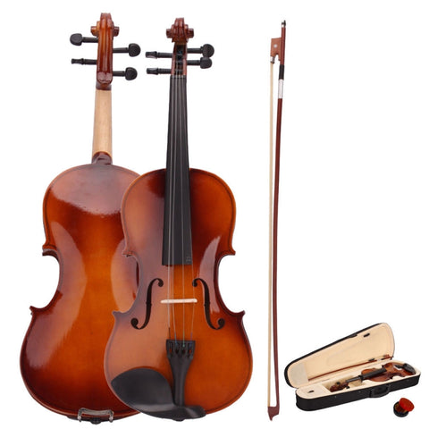 4/4 Beginners Acoustic Violin Natural Color with Rosin/Bow/Fiddle Case