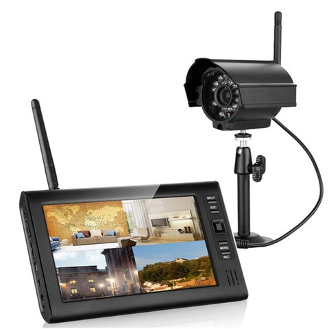 "SY602E11 7"" TFT LCD 4CH DVR Wireless Security System with IR Camera US Standard Plug"