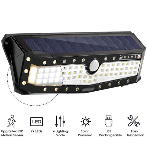 Solar + USB Power 3 Mode Waterproof 79 LED Solar Light Outdoor Garden Light PIR Motion Sensor Pathway Wall Lamp - Black
