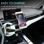 UltraFire Car Bluetooth FM Transmitter Handsfree USB Short Car Charger Universal Mobile Phone Holder Black